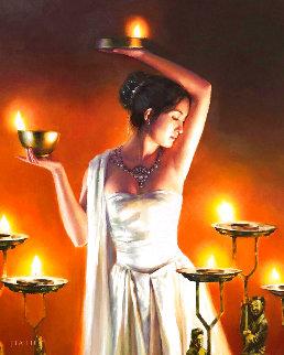 Han Lanterns II 2003 36x32 Original Painting - Jia Lu