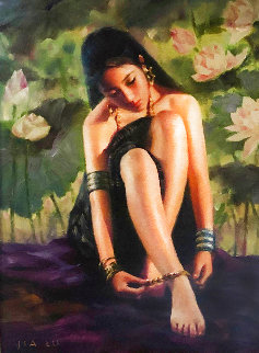 Anklet 2003 28x24 Original Painting - Jia Lu