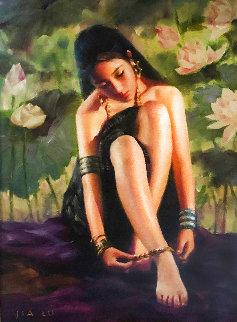 Anklet 2003 28x24 Original Painting - Jia Lu