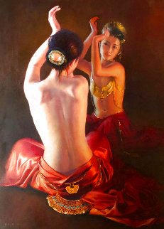 Reflection 2001 42x53 Huge Original Painting - Jia Lu