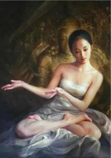 Temple Dancer Original 2004 24x24 Original Painting - Jia Lu