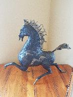 Black Horse Bronze Sculpture 1988 20 in Sculpture by Tie-Feng Jiang - 1