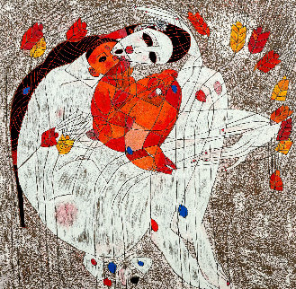 Mother and Child 1980 Limited Edition Print - Tie-Feng Jiang