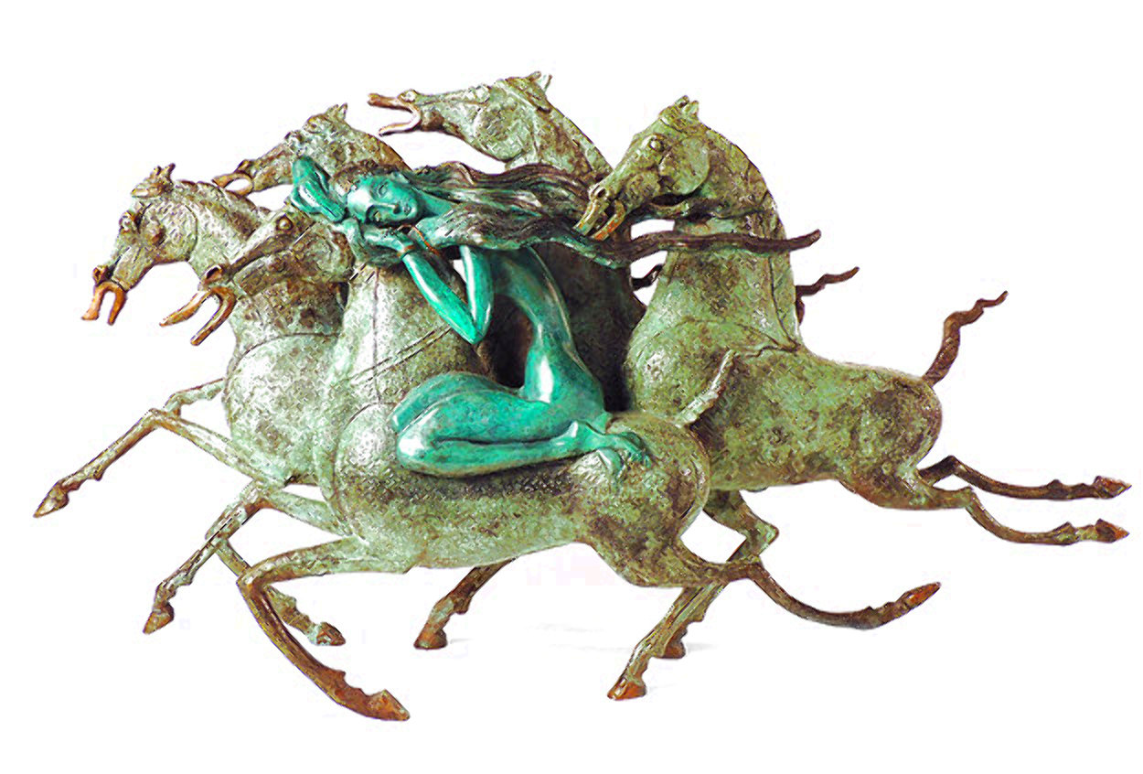 Emerald Lady Bronze Sculpture 1986 16 in Sculpture by Tie-Feng Jiang