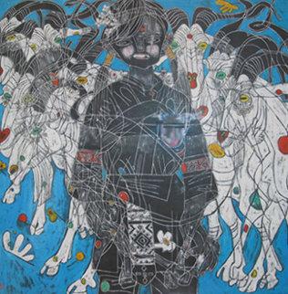 Girl with Mountain Goats 1985 40x40 Huge Original Painting - Tie-Feng Jiang