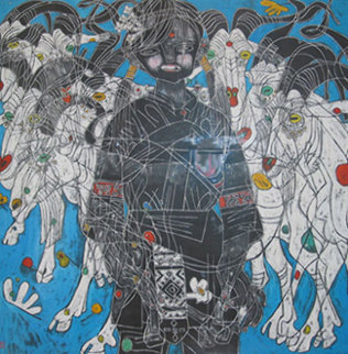Girl with Mountain Goats 1985 40x40 Original Painting by Tie-Feng Jiang