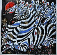 Imperial Zebras Embellished 1992 Limited Edition Print by Tie-Feng Jiang - 1