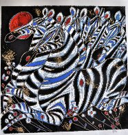 Imperial Zebras Embellished 1992 Limited Edition Print by Tie-Feng Jiang - 2