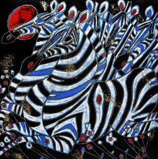 Imperial Zebras Embellished 1992 Limited Edition Print - Tie-Feng Jiang