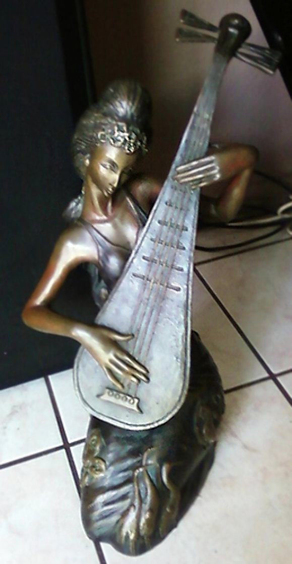 Melody Pipa Bronze Sculpture 19 in  Sculpture by Tie-Feng Jiang