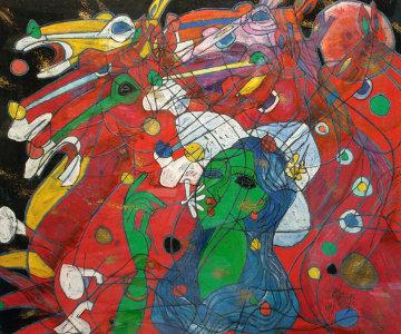 Riders Symphony 1991 42x47 Huge Original Painting - Tie-Feng Jiang