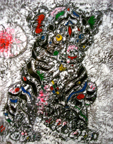 Youthful Strength 2011 33x33 Original Painting by Tie-Feng Jiang