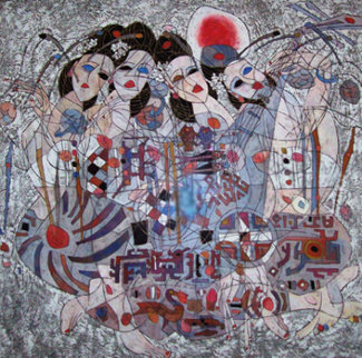 Untitled Painting 1986 50x51 Original Painting by Tie-Feng Jiang