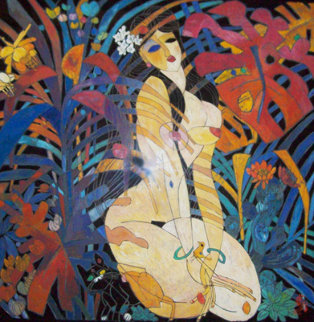 Girl in Jungle 1988 50x51 Original Painting - Tie-Feng Jiang