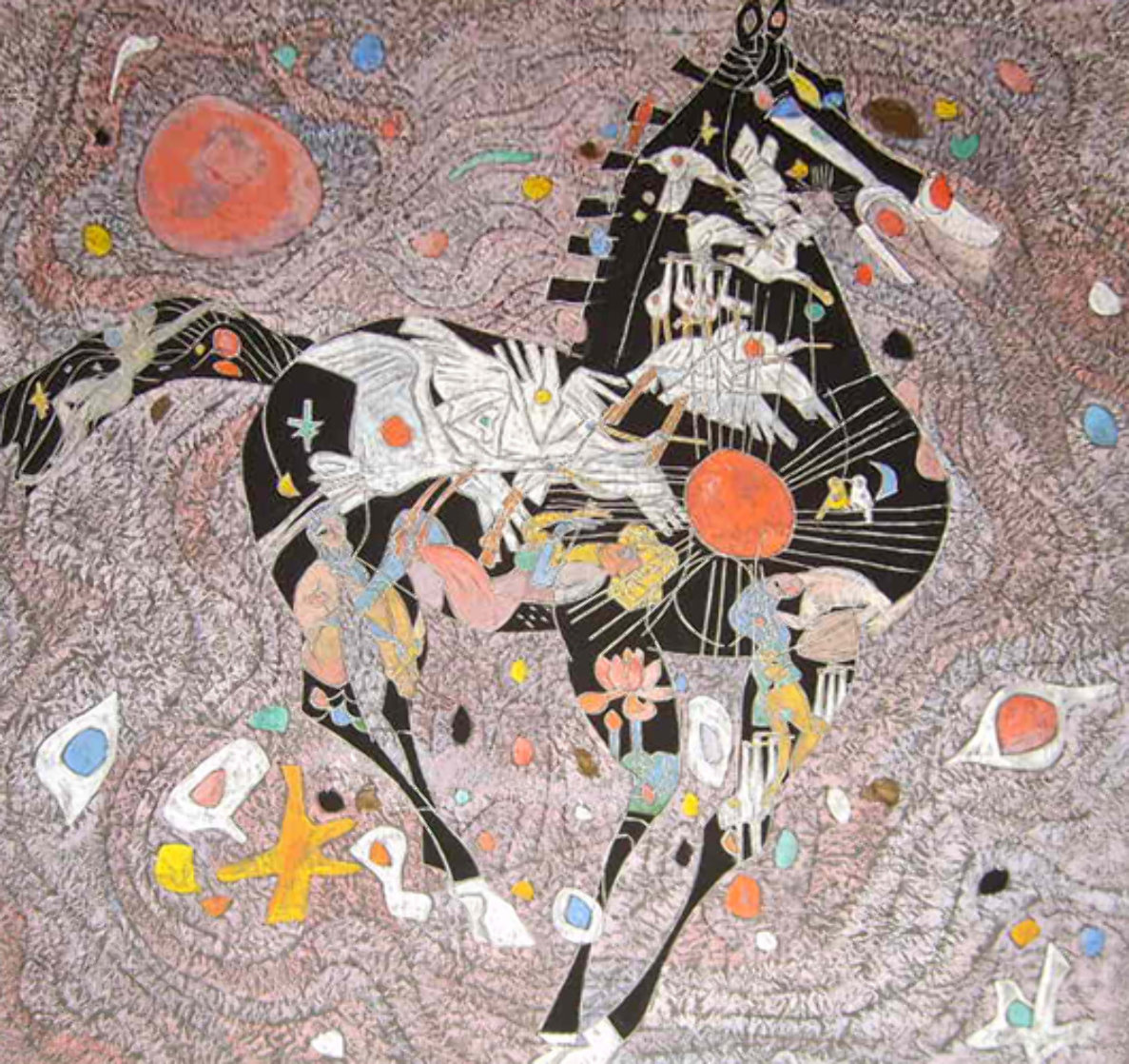 Black Horse 1988 40x40 Super Huge Original Painting by Tie-Feng Jiang