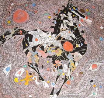 Black Horse 1988 40x40 Huge Original Painting - Tie-Feng Jiang