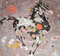 Black Horse 1988 40x40 Super Huge Original Painting by Tie-Feng Jiang - 1