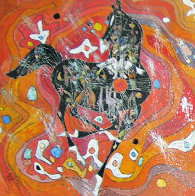 Little Horse Suite, Suite of 2 Paintings 1988 32x32 Original Painting by Tie-Feng Jiang - 1