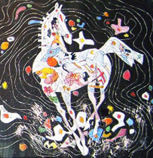Little Horse Suite, Suite of 2 Paintings 1988 32x32 Original Painting by Tie-Feng Jiang