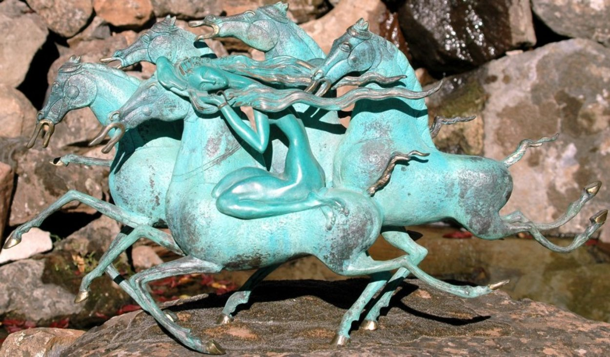 Emerald Lady Bronze Sculpture 1986 29 in Sculpture by Tie-Feng Jiang