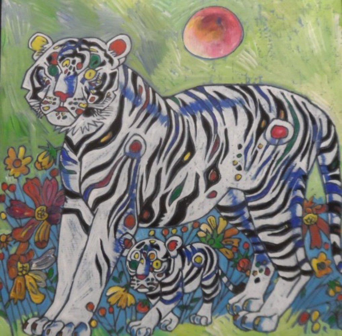 Sun Rising 1998 20x20 Original Painting by Tie-Feng Jiang