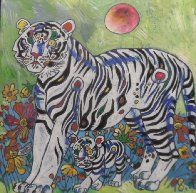 Sun Rising 1998 20x20 Original Painting by Tie-Feng Jiang - 0
