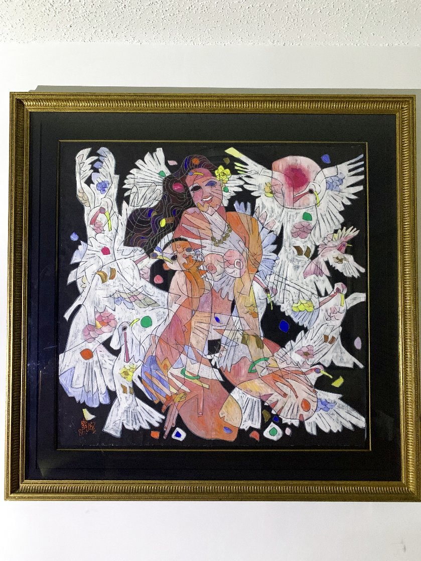 White Doves 1986  48x52 Super Huge Original Painting by Tie-Feng Jiang