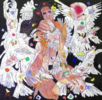 White Doves 1986  48x52  Huge Original Painting - Tie-Feng Jiang
