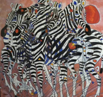 Zebras 1991 Limited Edition Print - Tie-Feng Jiang