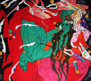Emerald Lady Tapestry 69x64 Super Huge Limited Edition Print - Tie-Feng Jiang