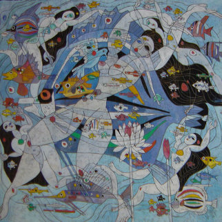 Fish World 1989 49x49 Super Huge Original Painting - Tie-Feng Jiang