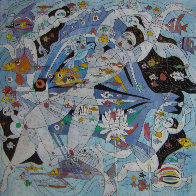 Fish World 1989 49x49 Super Huge Original Painting by Tie-Feng Jiang - 6