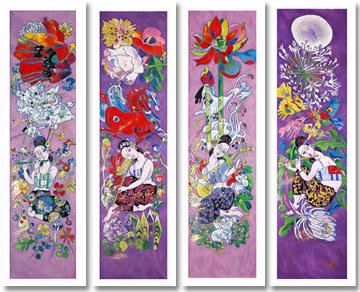 Four Songs of Spring 1999 (4) Embellished Huge Limited Edition Print - Tie-Feng Jiang