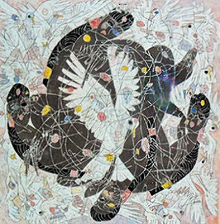 Lady And White Birds 1987 55x55 Super Huge Original Painting - Tie-Feng Jiang