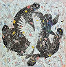 Lady And White Birds 1987 55x55 Original Painting by Tie-Feng Jiang - 0