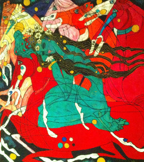 Emerald Lady Tapestry 1991 65x65  Huge Limited Edition Print - Tie-Feng Jiang