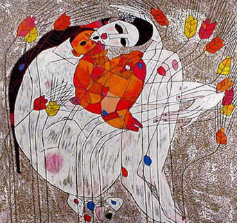 Mother and Child 1985 Limited Edition Print - Tie-Feng Jiang
