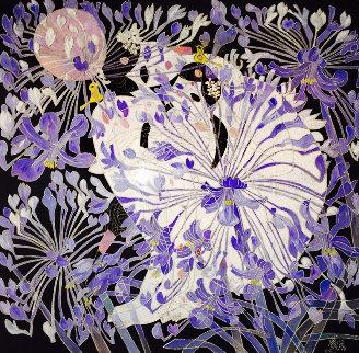 Blue Daisies 1988 53x53 Huge Original Painting - Tie-Feng Jiang