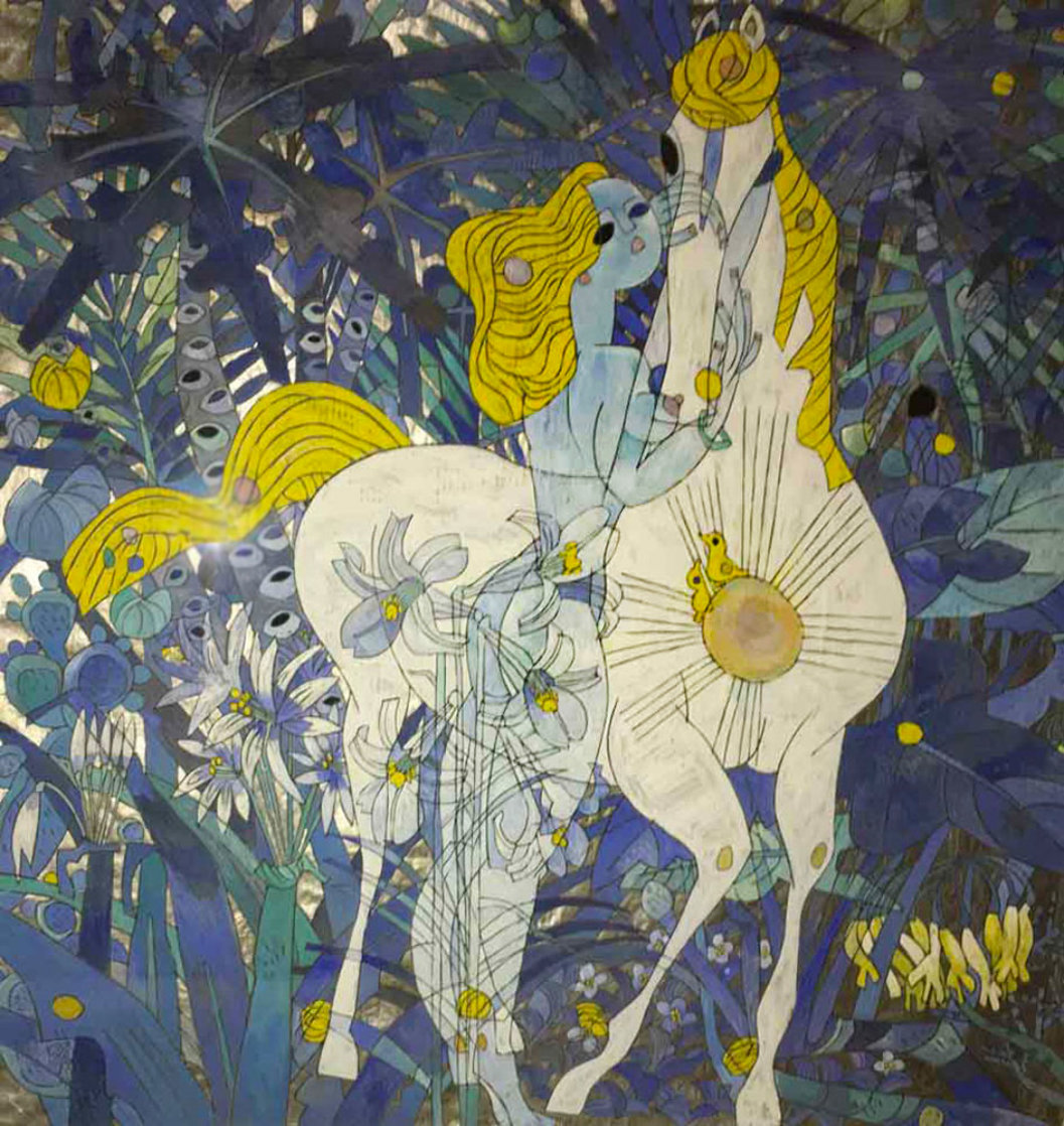 In the Remote Jungle 1989 53x53 Super Huge Original Painting by Tie-Feng Jiang