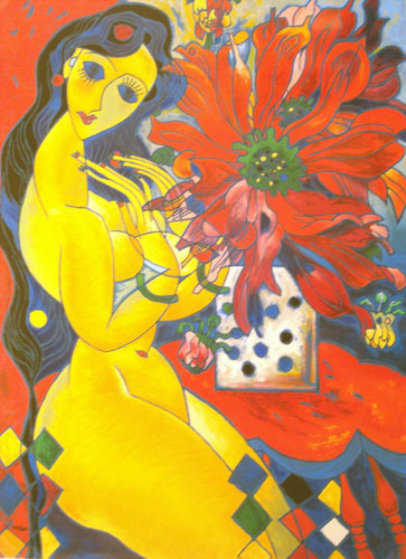 Beauty and Flowers 1994 Limited Edition Print by Tie-Feng Jiang