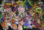 Four Little Friends 1996 51x41 Original Painting - Tie-Feng Jiang