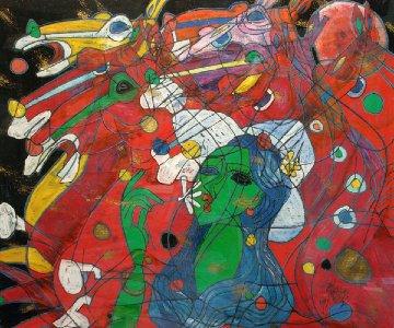Riders Symphony 1991 47x54 Original Painting - Tie-Feng Jiang