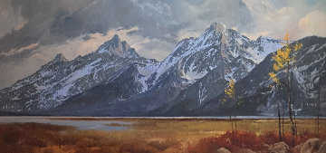Grand Teton Lizard Creek  1978 57x34 Original Painting - Jim Wilcox