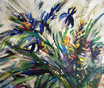 Flying Blues 1993 21x25 Original Painting - Joseph Kinnebrew