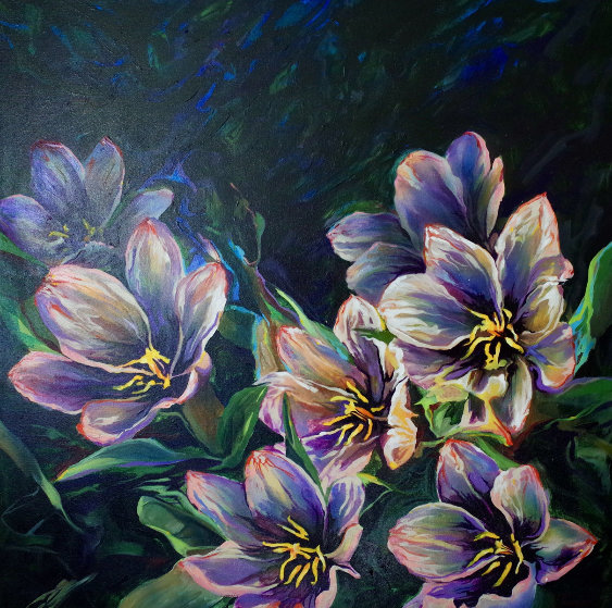 Flowers By An Unnamed Stream, Fisher Creek, Idaho 1992 44x44 Original Painting by Joseph Kinnebrew