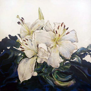 Untitled Floral Painting PTG-2-22-14 2014 Original Painting by Joseph Kinnebrew