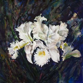 Untitled Orchids 2015 24x24 Original Painting - Joseph Kinnebrew