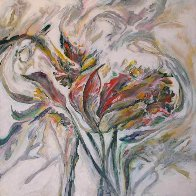 Untitled Abstract Flower 2015 24x24 Original Painting by Joseph Kinnebrew - 1