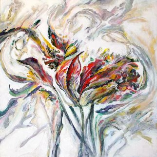 Untitled Abstract Flower 2015 24x24 Original Painting by Joseph Kinnebrew