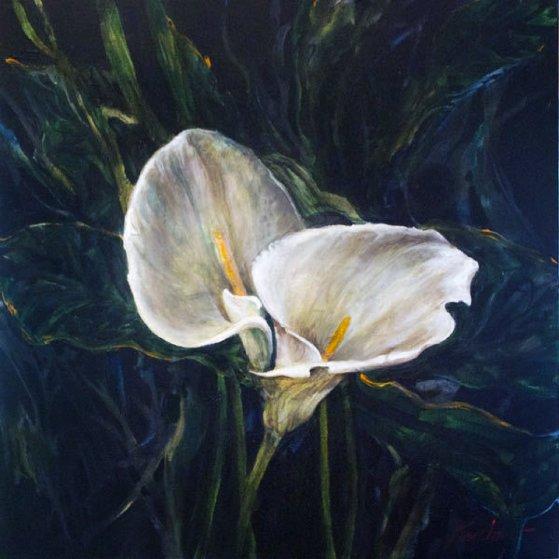 Untitled Cala Lillies 2015 24x24 Original Painting by Joseph Kinnebrew